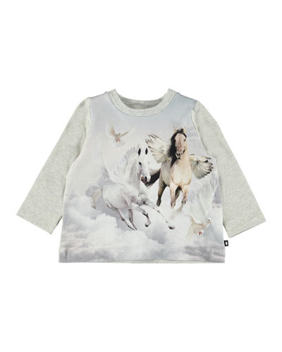Ebby Winged Horse Print Tee, Size 6-24 Months