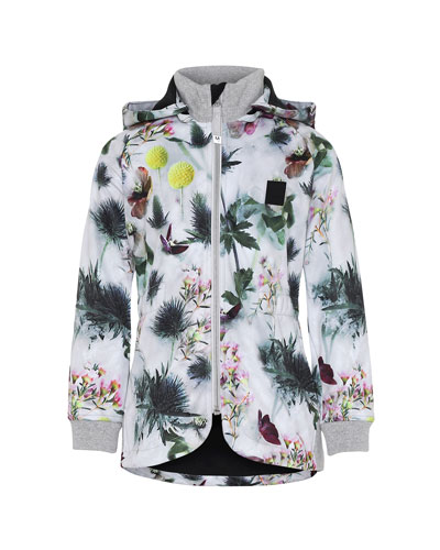 Girl's Hillary Floral Print Waterproof Soft Shell Hooded Jacket, Size 4-12