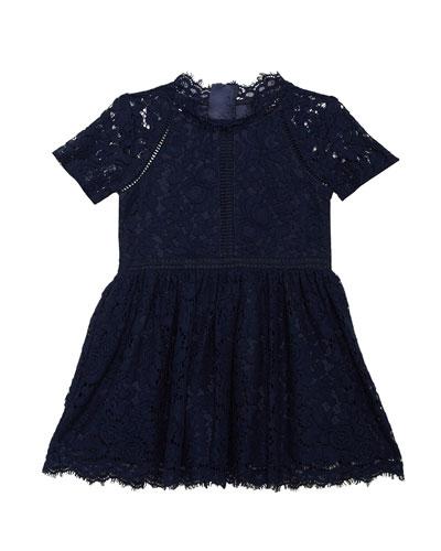 Girl's Lace Panel Short-Sleeve Dress, Size 8-16
