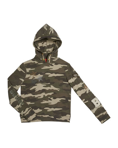 Girl's Camo Cross-Back Studded Pullover Hoodie Sweatshirt, Size S-XL