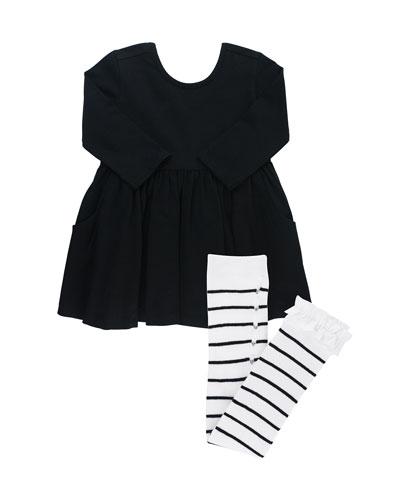 Solid Long-Sleeve Twirl Dress w/ Striped Tights, Size 3M-3T