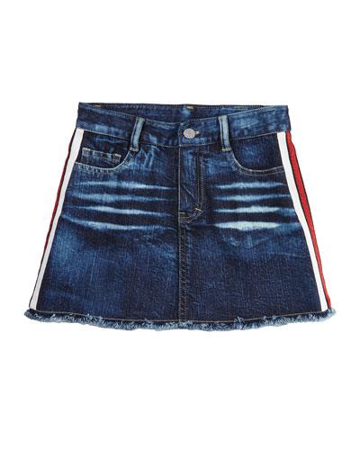 Girl's Denim Raw Edge Skirt w/ Metallic Taping, Size S-XL