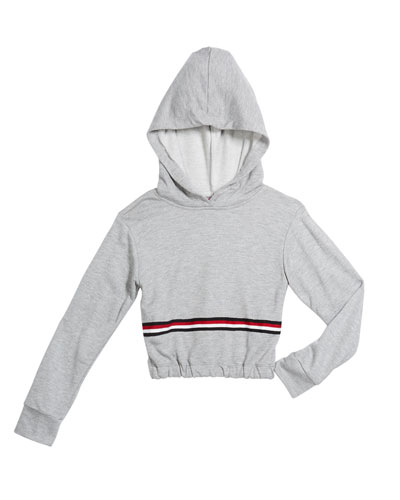 Girl's Taping Trim Hoodie w/ Elasticized Hem, Size S-XL