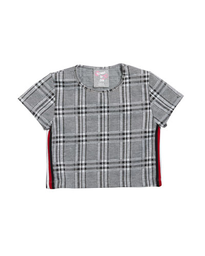 Girl's Plaid Short-Sleeve Cropped Top, Size S-XL