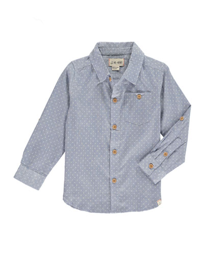Spotted Woven Collared Shirt w/ Children's Book, Size 2T-10