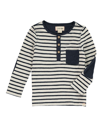 Striped Henley Tee w/ Children's Book, Size 2T-10
