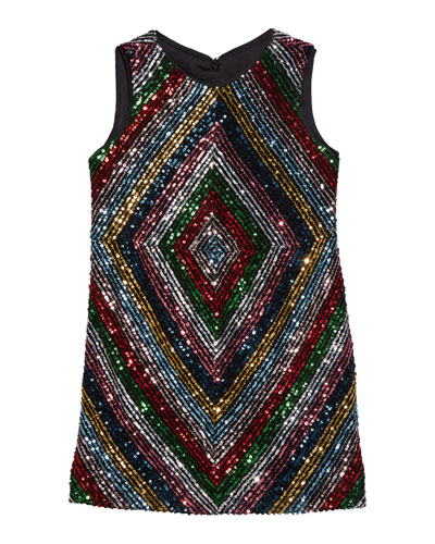 Girl's Rainbow Stripe Sequin Mitered Dress, Size 4-6