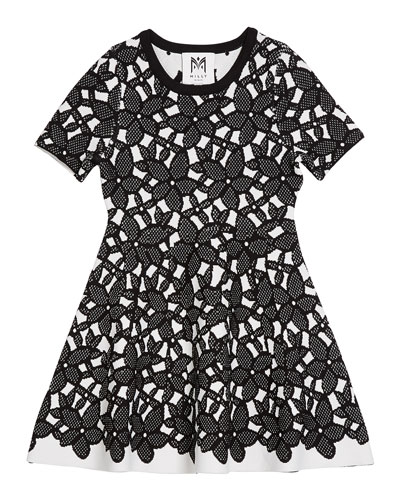 Floral-Mesh Jacquard Short-Sleeve Dress, Size 7-16