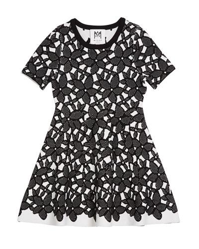 Floral-Mesh Jacquard Short-Sleeve Dress, Size 4-6