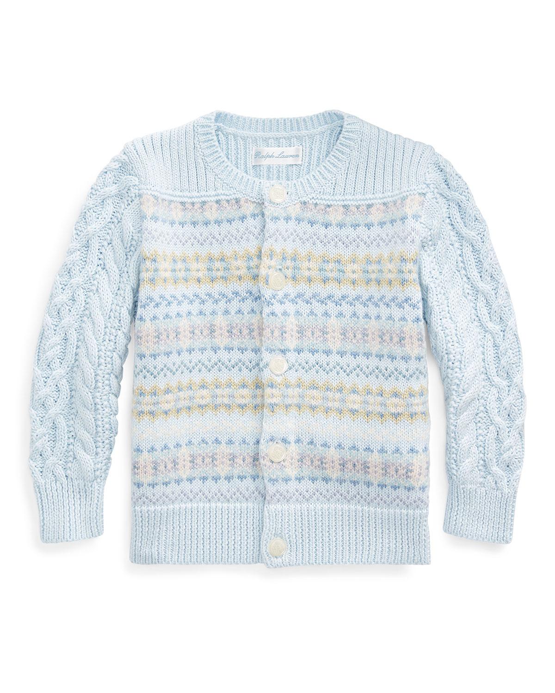 Ralph Lauren Childrenswear Fair Isle Cable-knit Cotton/wool Sweater In Blue