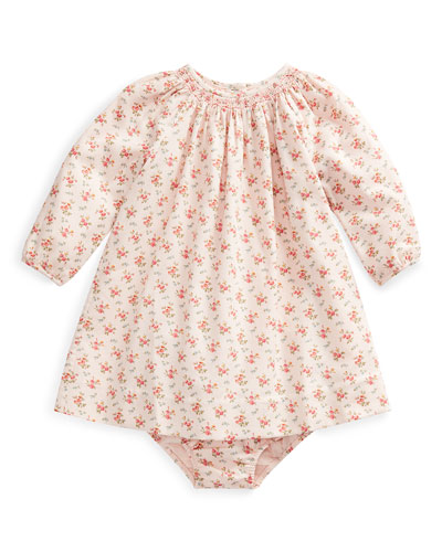 Floral-Print Smocked Long-Sleeve Dress w/ Bloomers, Size 6-24 Months