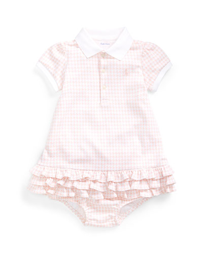 Collared Short-Sleeve Ruffle Dress w/ Bloomers, Size 6-24 Months