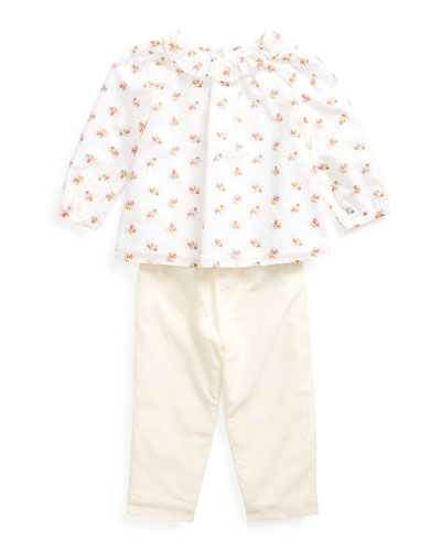 Girl's Floral Print Voile Woven Top w/ Solid Pants, Size 6-24 Months