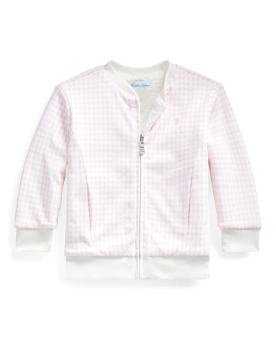Houndstooth Sherpa Reversible Jacket, Size 12-24 Months