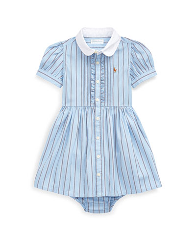 Striped Button-Up Dress w/ Bloomers, Size 6-24 Months