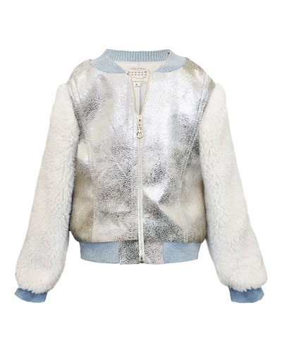 Girl's Metallic & Faux Fur Bomber Jacket, Size 4-6X