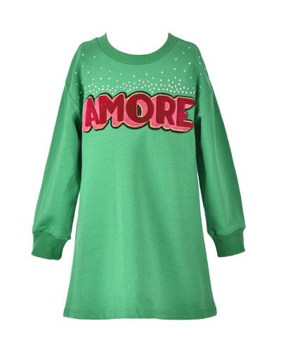 Girl's Amore Long-Sleeve T-Shirt Dress, Size 4-6X