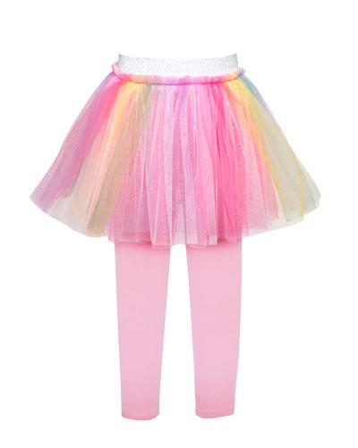 Girl's Rainbow Tulle Tutu Skirt w/ Attached Leggings, Size 4-6X