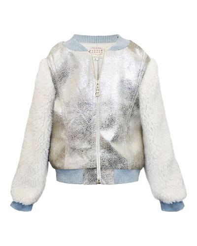 Girl's Metallic & Faux Fur Bomber Jacket, Size 7-14
