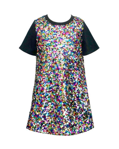 Girl's Multicolored Sequin Short-Sleeve Dress, Size 4-6X