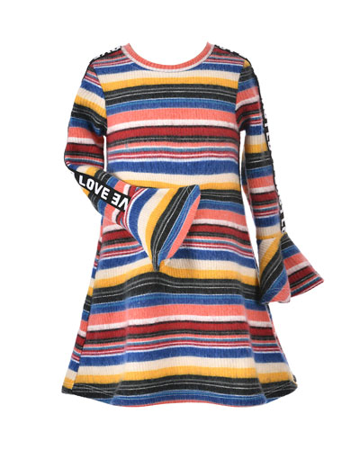 Girl's Striped Long-Sleeve Dress w/ Love Ribbon Trim, Size 7-14