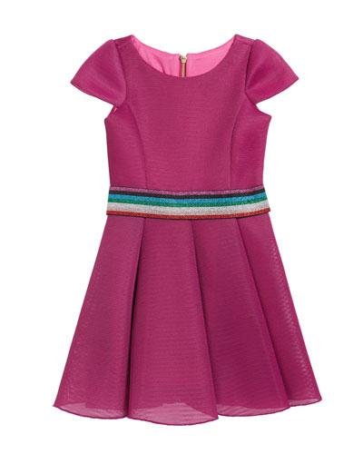 Girl's Cap-Sleeve Scuba Mesh Skater Dress w/ Multi Belt, Size 7-16