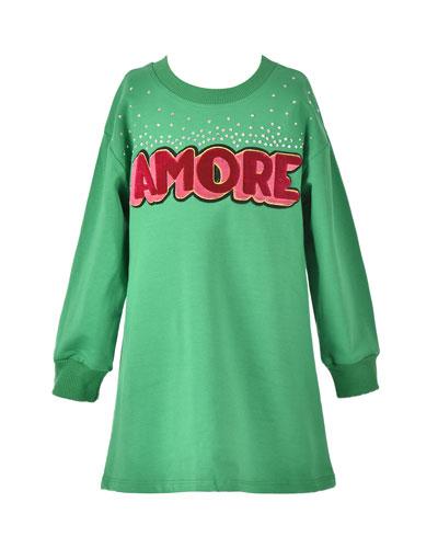 Girl's Amore Long-Sleeve T-Shirt Dress, Size 7-14