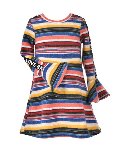 Girl's Striped Long-Sleeve Dress w/ Love Ribbon Trim, Size 4-6X