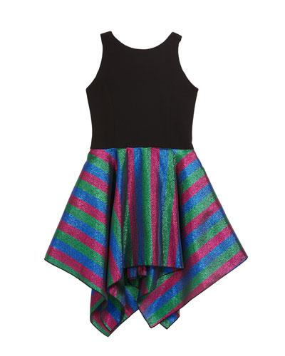 Girl's Jax Metallic Rainbow Stripe Dress, Size 7-16