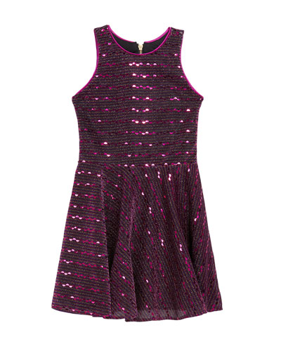 Girl's Kiki Iridescent Sequin Knit Swing Dress, Size 7-16