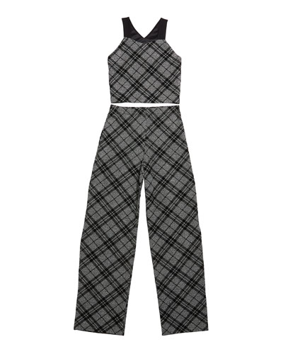 The Bea Check Cropped Top w/ Wide Leg Pants, Size S-XL
