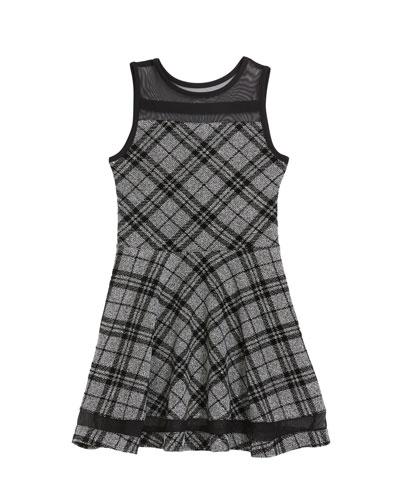 Girl's The Emerson Check Mesh Trim Dress, Size S-XL
