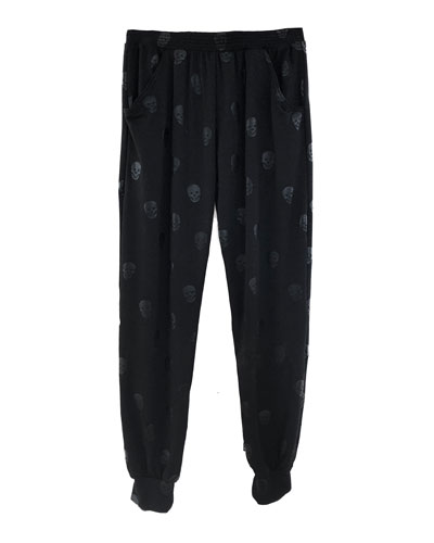 Girl's Skull Foil Print Jogger Pants, Size S-XL