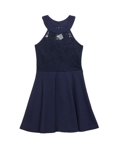 Girl's The Ava Techno Crepe Lace Halter Dress, Size S-XL