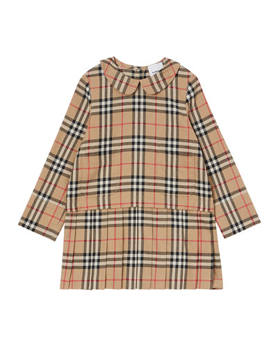 Girl's Melania Flannel Check Dress, Size 3-14