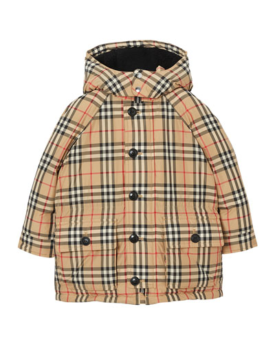 Girl's Jamir Check Puffer Coat, Size 3-14