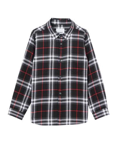 Boy's Fredrick Check Flannel Shirt, Size 3-14