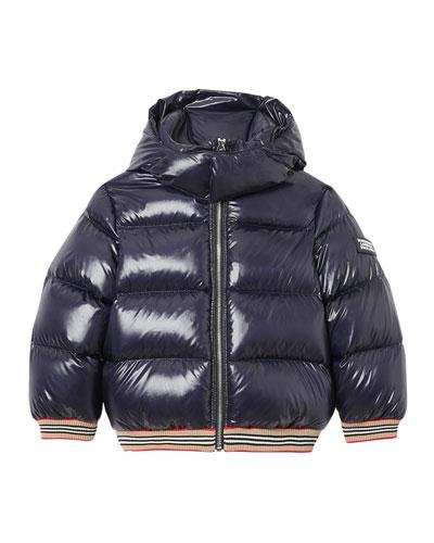 Girl's Josiah Short Puffer Coat w/ Icon Stripe Trim, Size 3-14