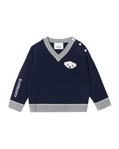 Boy's Sidney Teddy Bear V-Neck Sweater, Size 6M-2