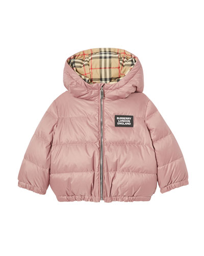 Girl's Check Reversible Puffer Coat, Size 6M-2