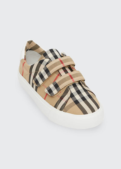 Markham Check Grip-Strap Sneaker, Toddler/Youth Sizes 10T-4Y