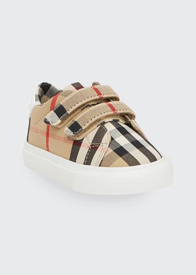 Markham Check Grip-Strap Sneaker, Baby