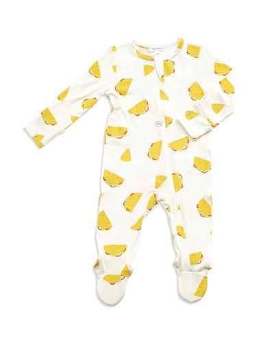 Tacos Print Zipper Footie Pajamas, Size Newborn-9 Months