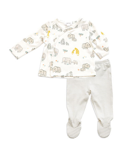 End Species Surplice Top w/ Striped Footed Leggings, Size Newborn-3 Months