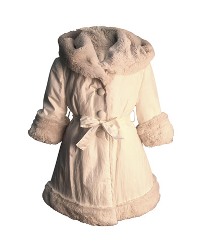 Girl's Nylon Reversible Faux Fur Coat, Size 7-14
