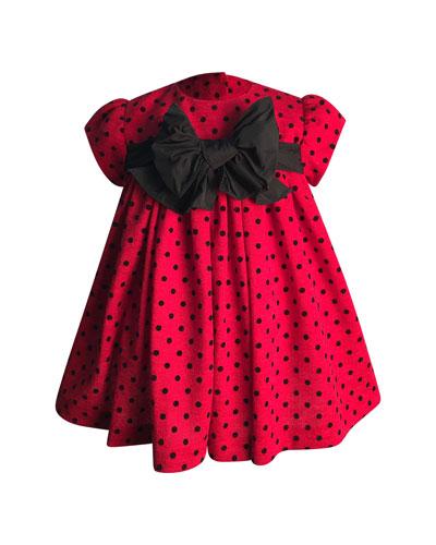 Girl's Polka-Dot Bow Dress, Size 6-18 Months