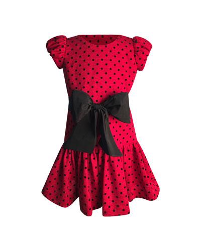 Girl's Polka-Dot Bow Dress, Size 7-14