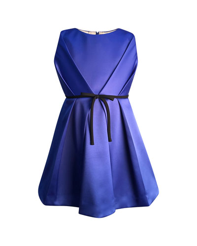Girl's Bright Royal Satin Pleated Dress, Size 2-6