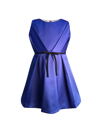 Girl's Bright Royal Satin Pleated Dress, Size 7-14