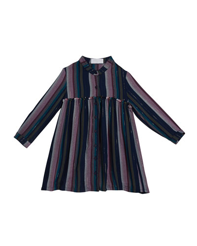 Girl's Metallic Striped Fray Seam Long-Sleeve Dress, Size 8-14